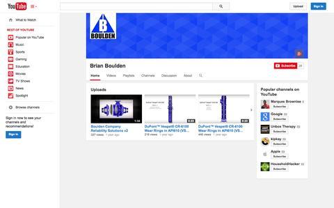 Screenshot of YouTube Page youtube.com - Brian Boulden  - YouTube - captured Nov. 3, 2014
