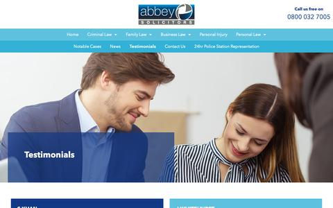 Screenshot of Testimonials Page abbeysolicitors.co.uk - Testimonials | Abbey Solicitors - captured Oct. 2, 2018