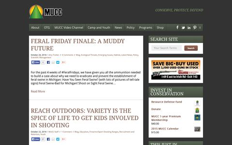 Screenshot of Blog mucc.org - Blog | Michigan United Conservation Clubs - captured Oct. 27, 2014