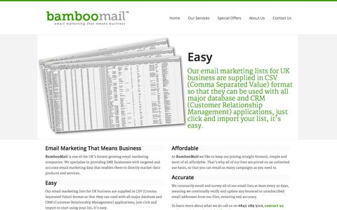 Screenshot of Home Page bamboo-mail.com - Bamboo-mail - captured Sept. 30, 2014