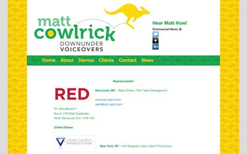 Screenshot of Contact Page downundervoiceovers.com - Contact information for Matt Cowlrick - Voiceover Talent - captured Sept. 30, 2014