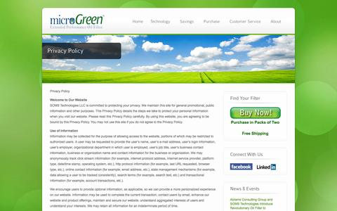 Screenshot of Privacy Page microgreenfilter.com - Privacy Policy - microGreen Oil Filters - captured Sept. 17, 2014