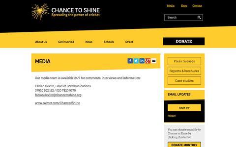 Screenshot of Press Page chancetoshine.org - Media - Chance to Shine - captured Nov. 14, 2016