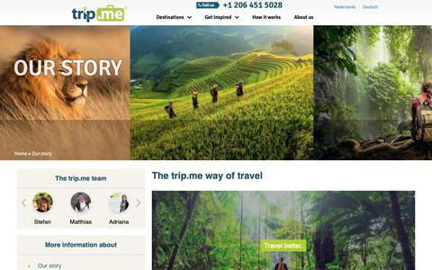 Screenshot of About Page trip.me - Why trip.me | Our Story | trip.me - captured Nov. 1, 2018