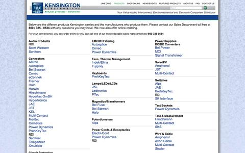 Screenshot of Products Page keiconn.com - Kensington Electronics, specializing in Hypertronics - Products - captured Oct. 9, 2014