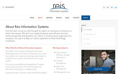 Screenshot of About Page reis.ca - About | Reis Information Systems | IT Management - captured Oct. 10, 2017