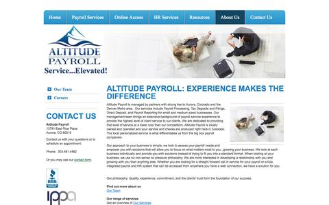 Screenshot of About Page altitudepayroll.com - About Us - Altitude Payroll - captured Oct. 4, 2014