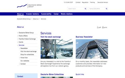Screenshot of Services Page deutsche-boerse.com - Deutsche Börse Group - Services - captured June 11, 2016