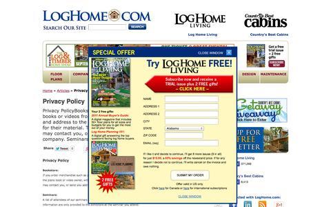 Screenshot of Privacy Page loghome.com - Privacy Policy - LogHome.com - LogHome.com - captured Sept. 23, 2014