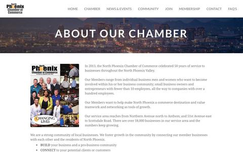 Screenshot of About Page northphoenixchamber.com - About Us - North Phoenix Chamber of Commerce - captured Oct. 22, 2017