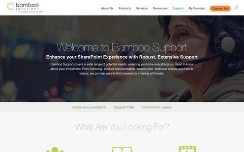 Screenshot of Support Page bamboosolutions.com - Support - Bamboo Solutions - captured Aug. 1, 2018