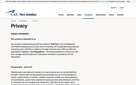 Screenshot of Privacy Page caeparcaviation.com - Privacy Policy |  CAE Parc Aviation - captured July 9, 2016