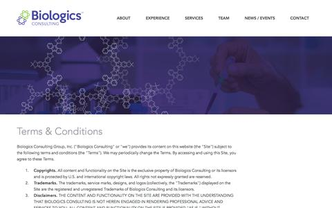 Screenshot of Terms Page biologicsconsulting.com - Biologics | Biosimilars | Pharmaceuticals & Medical Devices FDA Regulatory and Product Development Consulting Services | Chemistry | Manufacturing & Controls | Clinical Trial Planning & Oversight | US Agent Services from Biologics Consulting - captured Feb. 7, 2016