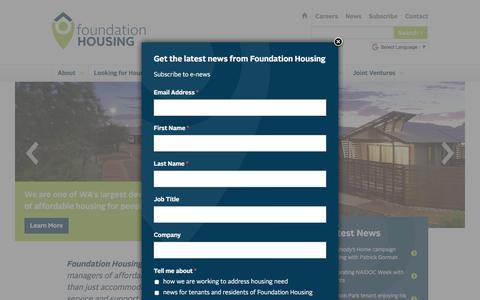 Screenshot of Home Page foundationhousing.org.au - Home - Foundation Housing - captured Aug. 17, 2018