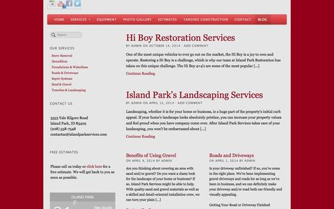 Screenshot of Blog wpengine.com - Island Park Services Blog - captured Oct. 29, 2014