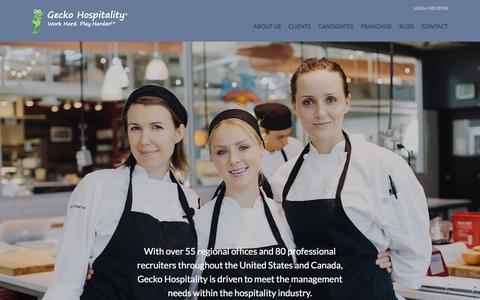 Screenshot of Home Page geckohospitality.com - Hospitality Recruitment | Restaurant Recruitment | Gecko Hospitality - captured Dec. 1, 2015