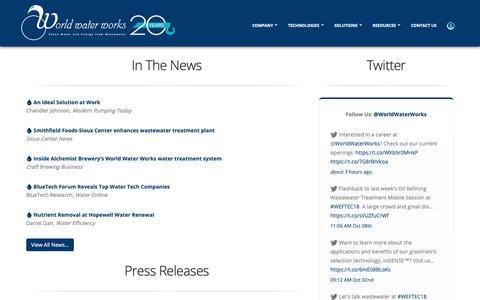 Screenshot of Press Page worldwaterworks.com - Media - World Water Works - captured Oct. 18, 2018