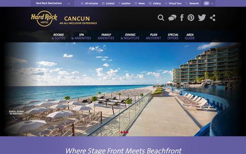 Screenshot of Home Page hrhcancun.com - Hard Rock Hotel Cancun - Cancun Beach Resorts - captured Sept. 19, 2014