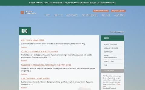 Screenshot of Blog gassen.com - Minnesota Property Management News, Twin Cities Rentals - Gassen Blog - captured Jan. 26, 2016