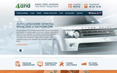 Screenshot of Home Page 4land.pl - Serwis Land Rover i Range Rover 4Land - captured Aug. 31, 2015
