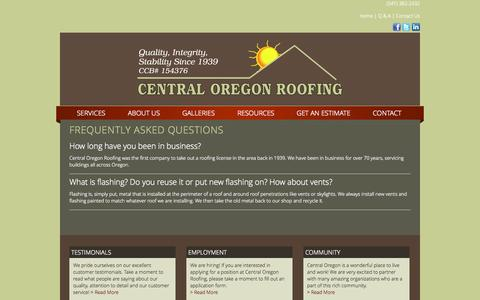 Screenshot of FAQ Page centralorroofing.com - Frequently Asked Questions - captured Oct. 2, 2014