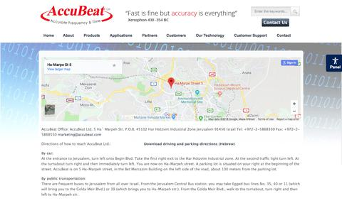 Screenshot of Maps & Directions Page accubeat.com - Directions - Accubeat - captured Feb. 27, 2018