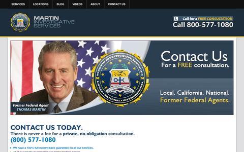 Screenshot of Contact Page martinpi.com - Contact Martin Investigative Services - captured Oct. 27, 2014