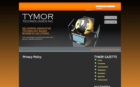 Screenshot of Privacy Page tymortech.com captured Oct. 6, 2014