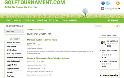 Screenshot of Hours Page golftournament.com - Hours of Operation - captured Sept. 29, 2018