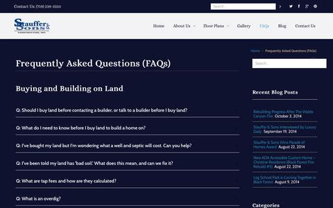 Screenshot of FAQ Page staufferandsons.com - Home Building Frequently Asked Questions (FAQs) - captured Oct. 7, 2014