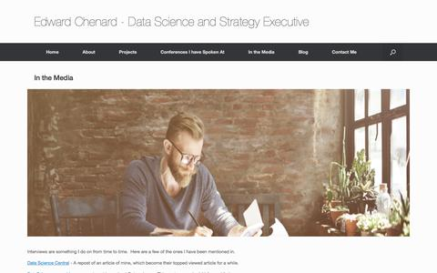 Screenshot of Press Page echenard.com - In the Media – Edward Chenard – Data Science and Strategy Executive - captured July 16, 2018