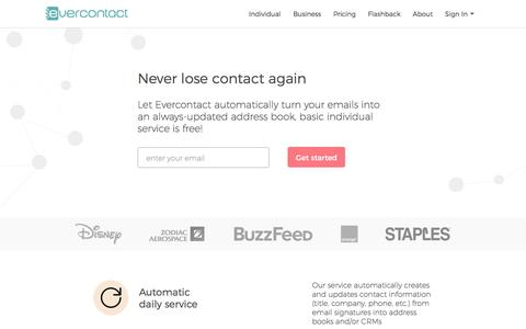 Screenshot of Home Page evercontact.com - Your contacts automatically up to date | Evercontact - captured Feb. 14, 2017