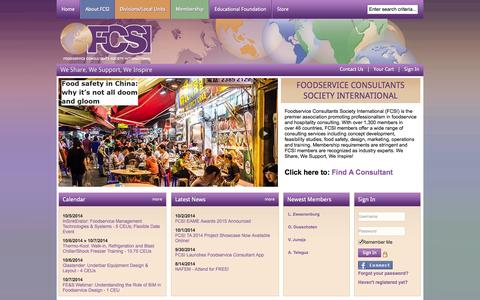 Screenshot of Home Page fcsi.org - Foodservice Consultants Society International - captured Oct. 6, 2014