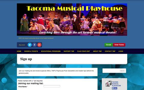 Screenshot of Signup Page tmp.org - Sign up | TMP: Tacoma Musical Playhouse - captured Oct. 9, 2014