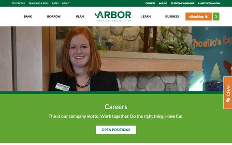 Screenshot of Jobs Page arborfcu.org - Banking Career | Credit Union Jobs in Michigan | Arbor Financial - captured Sept. 27, 2018