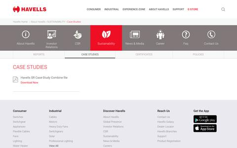 Screenshot of Case Studies Page havells.com - Sustainability - Havells India - captured Oct. 31, 2019