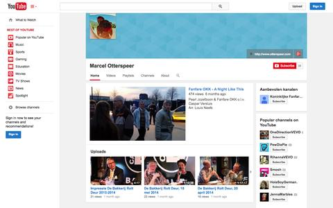Screenshot of YouTube Page youtube.com - Marcel Otterspeer  - YouTube - captured Oct. 23, 2014