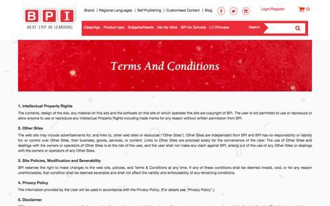 Screenshot of Terms Page bpiindia.com - BPI - captured Nov. 22, 2016