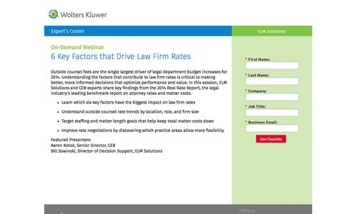 Screenshot of Landing Page datacert.com - On-Demand Webinar: 6 Key Factors that Drive Law Firm Rates - captured Aug. 17, 2016