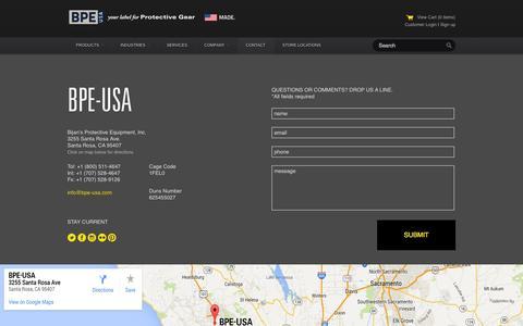 Screenshot of Contact Page bpe-usa.com - BPE-USA — CONTACT - captured Oct. 5, 2014