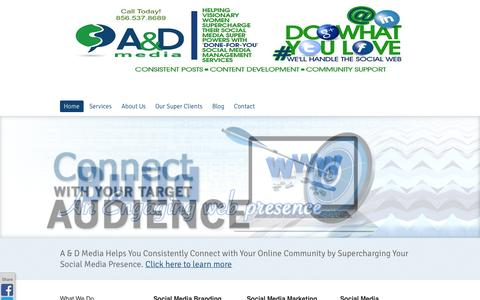 Screenshot of Home Page aplusdmedia.com - South Jersey Social Media | South Jersey Web Design | Web Marketing NJ - captured Oct. 4, 2014