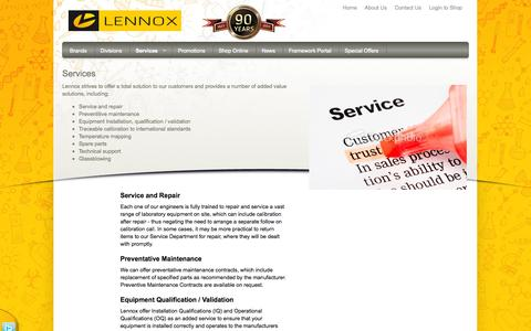 Screenshot of Services Page lennox.ie - Services - Lennox Laboratory Supplies - captured Oct. 2, 2014