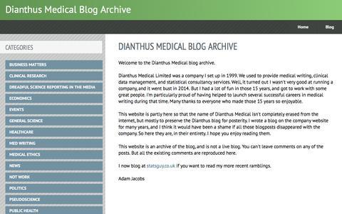 Screenshot of Home Page dianthus.co.uk - Dianthus Medical Blog Archive - captured Nov. 24, 2016