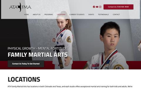 Screenshot of Locations Page atafma.com - Martial Arts Training - We Have Locations In Colorado And Texas   ATA Family Martial Arts - captured Oct. 2, 2018