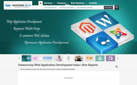 Screenshot of Home Page FAQ Page Site Map Page westerndeal.com - Outsourcing Web Application Development India | Hire Experts - captured Oct. 9, 2014
