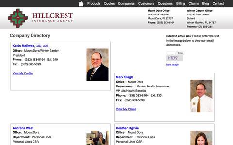 Screenshot of Team Page hillcrestinsurance.com - Company Directory Hillcrest Insurance Agency - Mount Dora, Florida 32757 - captured Sept. 28, 2018