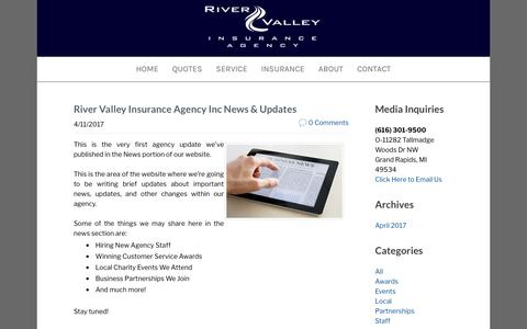 Screenshot of Press Page rviagency.com - River Valley Insurance Agency Inc - Agency News & Updates - captured Oct. 22, 2017