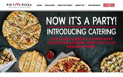 Screenshot of Home Page piefivepizza.com - Home - Pie Five Pizza - captured Sept. 28, 2018