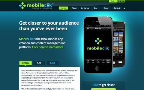 Screenshot of Home Page mobileclik.com - MobileClik | Professional marketers' mobile creation & content management environment - captured Oct. 6, 2014