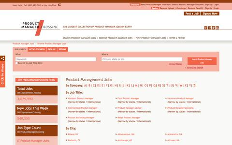 Screenshot of Jobs Page productmanagercrossing.com - Product Management Jobs, Browse Jobs in Product Management By Job Type, City, State in United States | ProductManagerCrossing.com - captured July 21, 2018